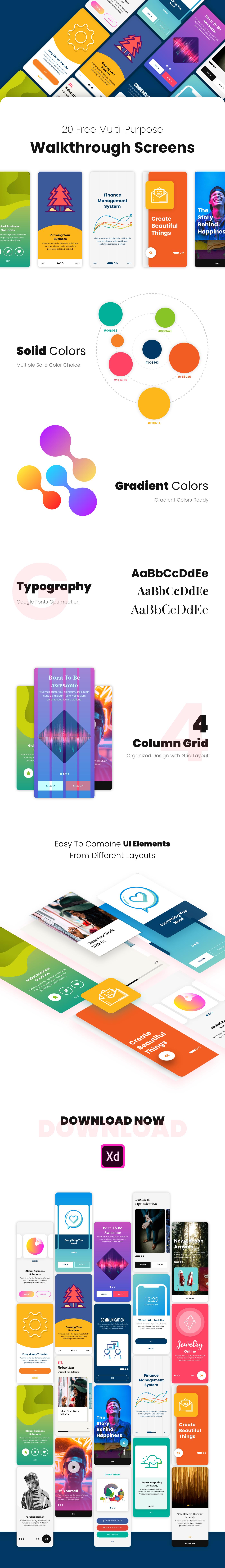 mobile walkthrough welcome UI ux Multipurpose free download app MadeWithAdobeXd