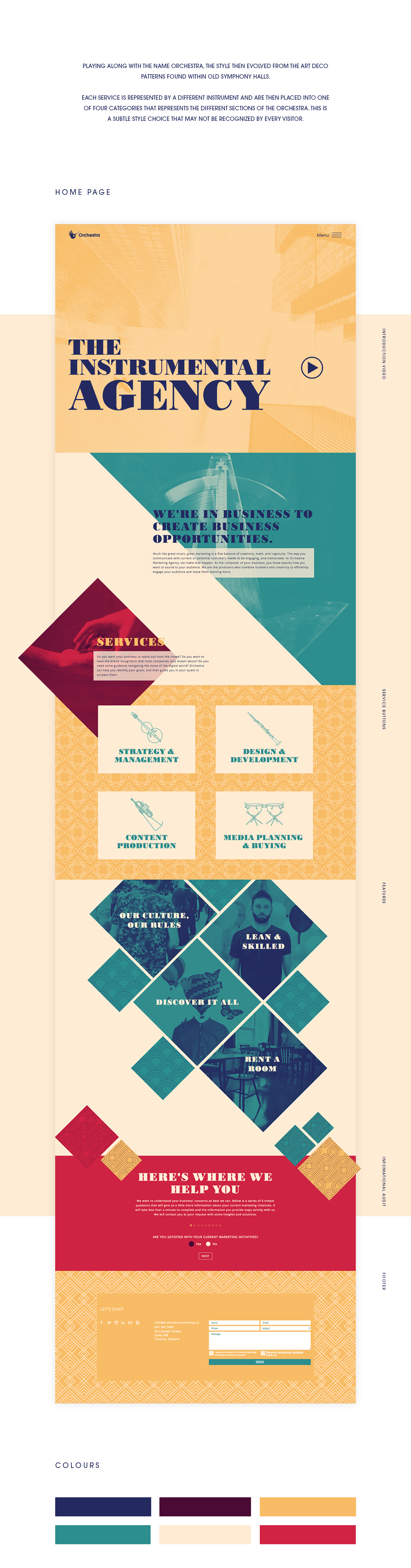 orchestra redesign Website instruments edgy morden abstract geometric agency Agency website