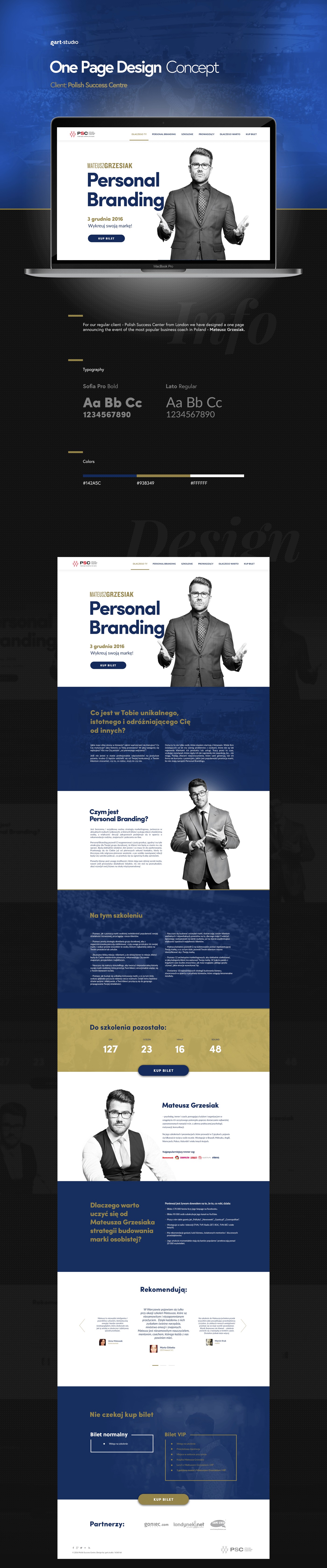 Web Design  One Page personal branding sales page Event
