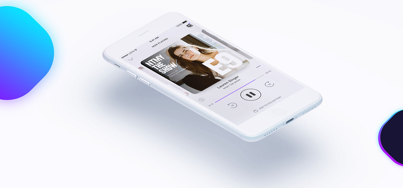 UI ux animation  design product interaction podcast app Audio Interface