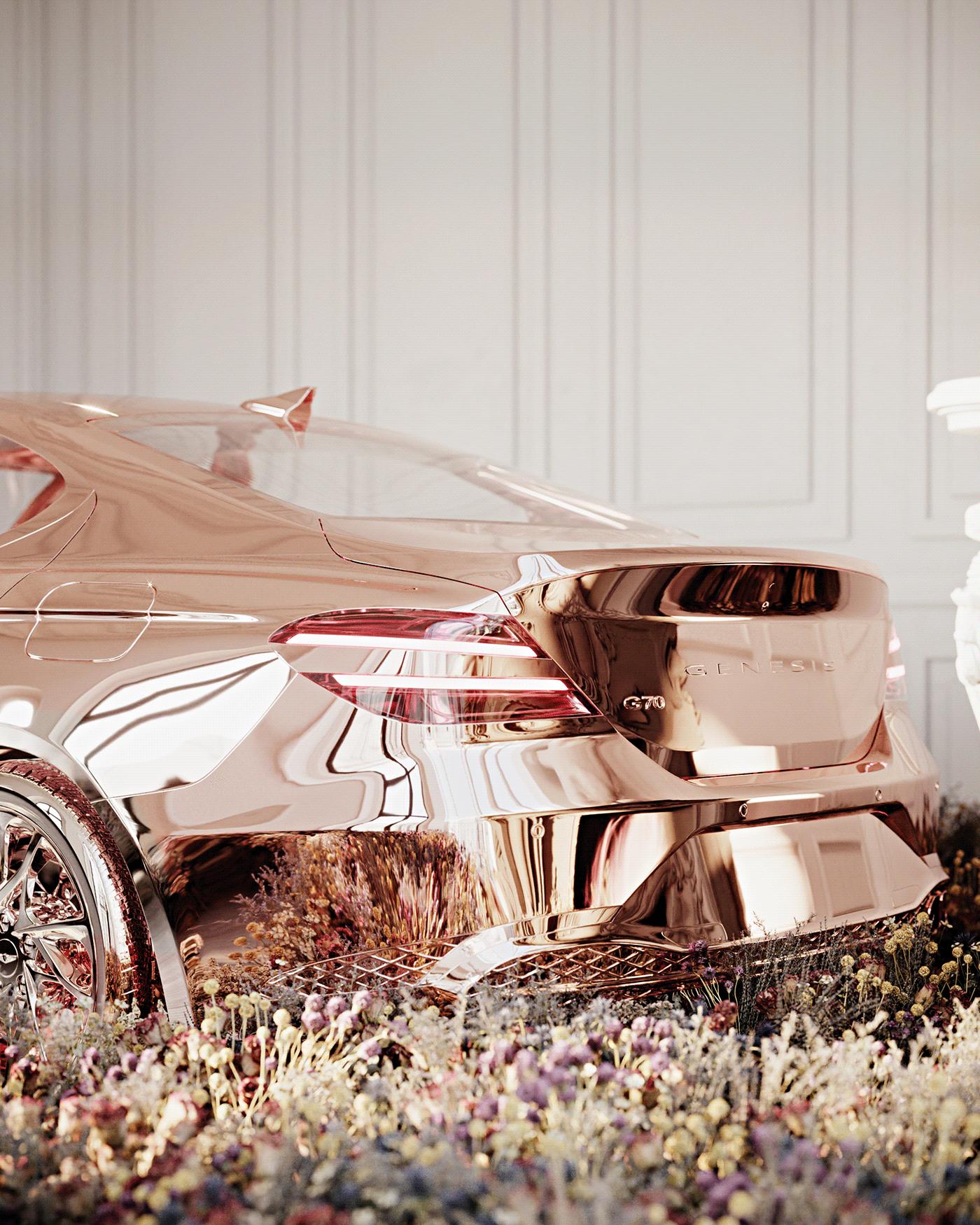art series automotive   car car art Cars chrome Flowers genesis reflective scuplture