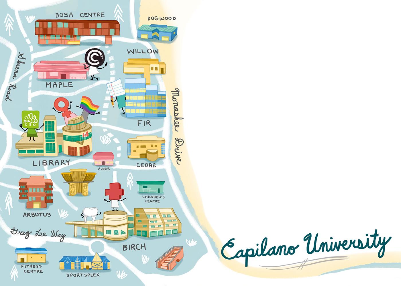 Capilano University Map Capilano University Illustrated Map on Behance
