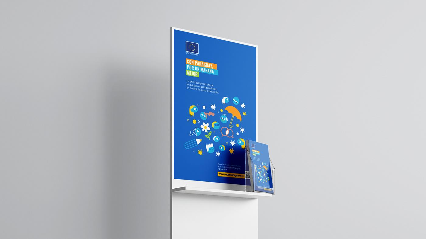 blue campaign design diseño editorial Europe ilustracion Intervención Website yellow
