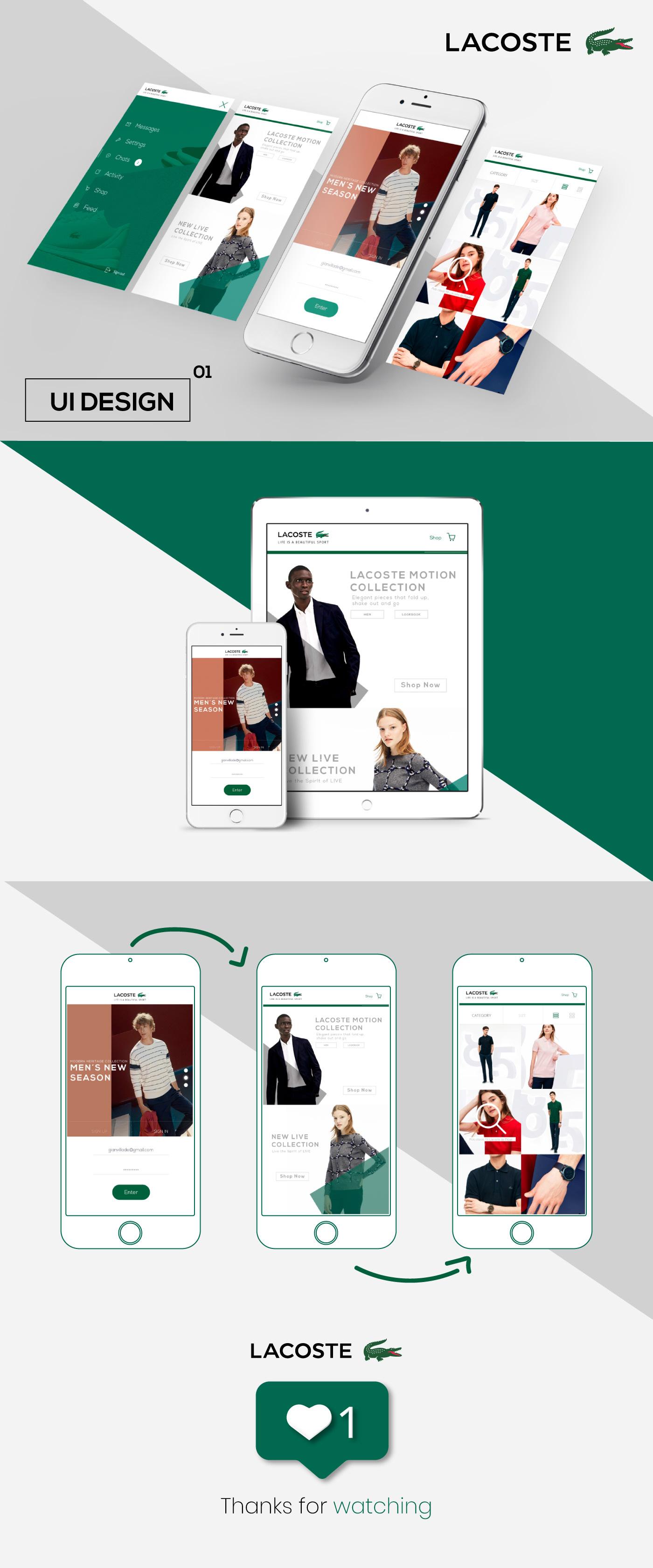 Interface design art direction  ux/ui uidesign app design lacoste interaction