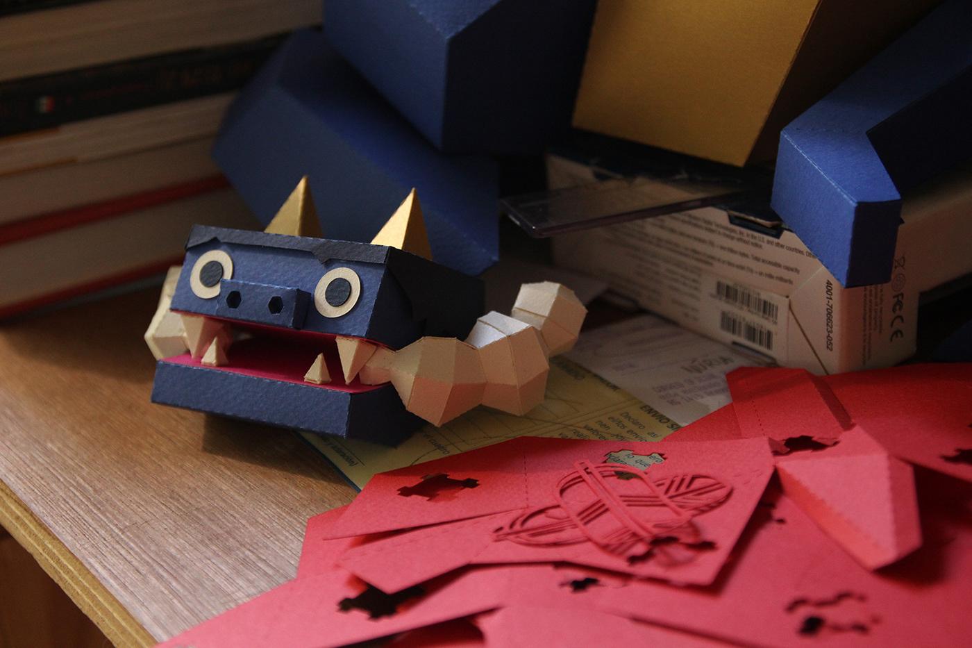 papercraft lowpoly yokai oni demon smoke kimono japan