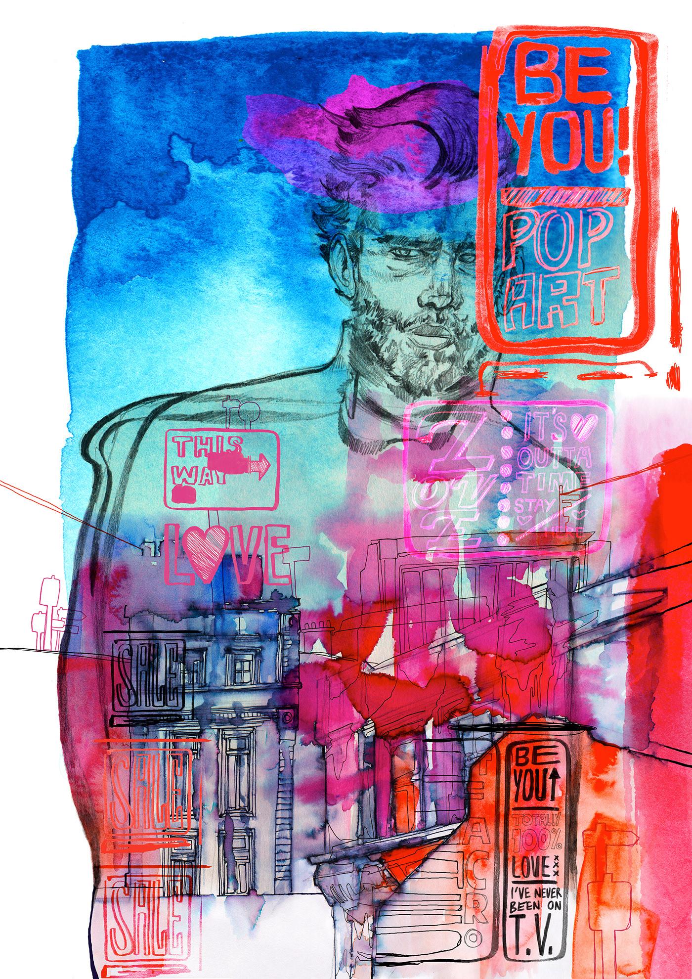 city Drawing  male model Pencil drawing portrait Urban urban landscape