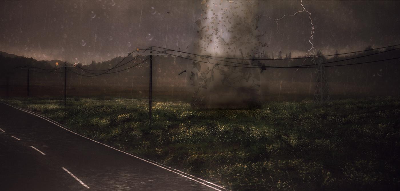 tornade destruction éclairs Pluie vent