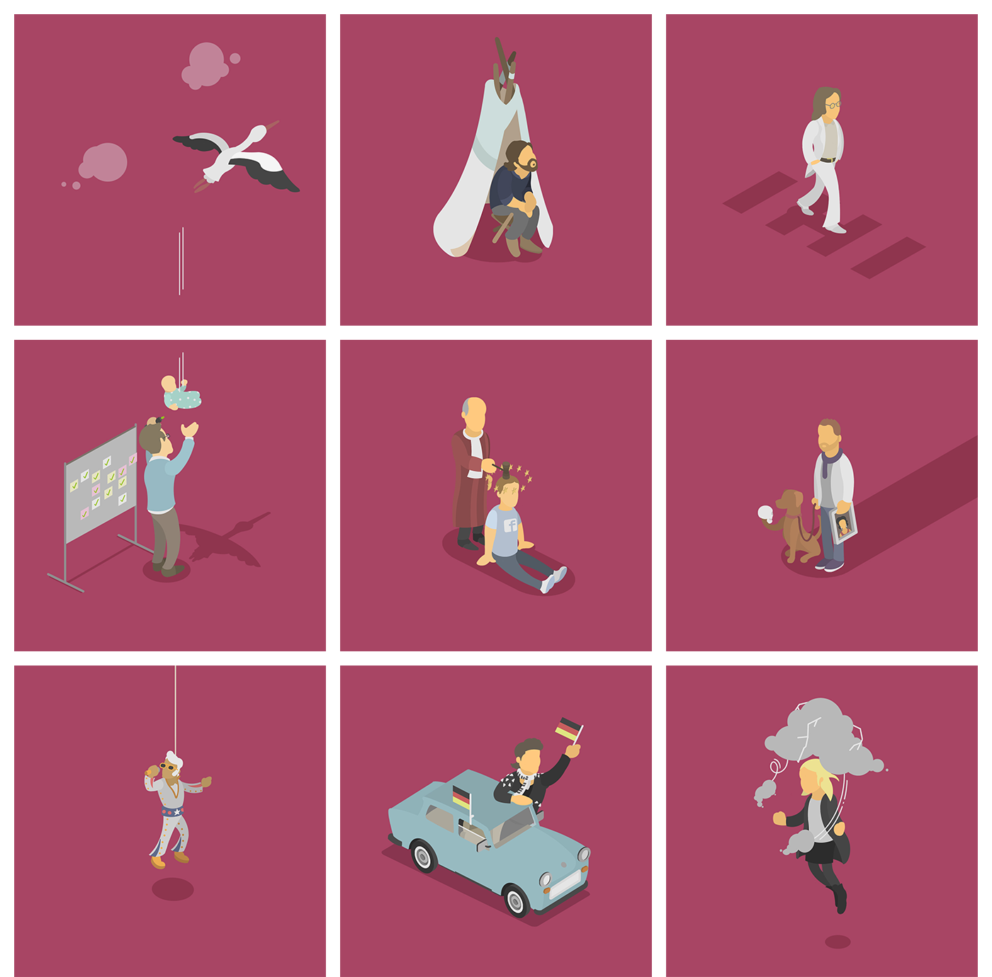 Daily Illustration Isometric instagram daily yellow red blue random