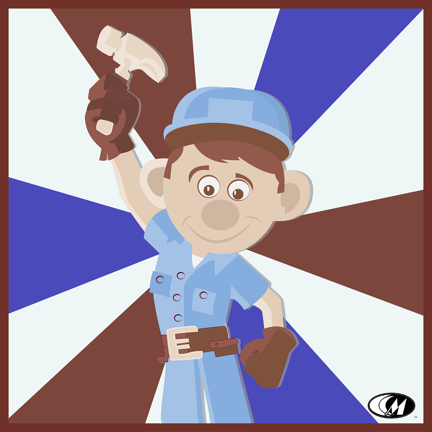 disney Fix-It-Felix cartoon Labor Day Holiday ILLUSTRATION  hammer red White blue