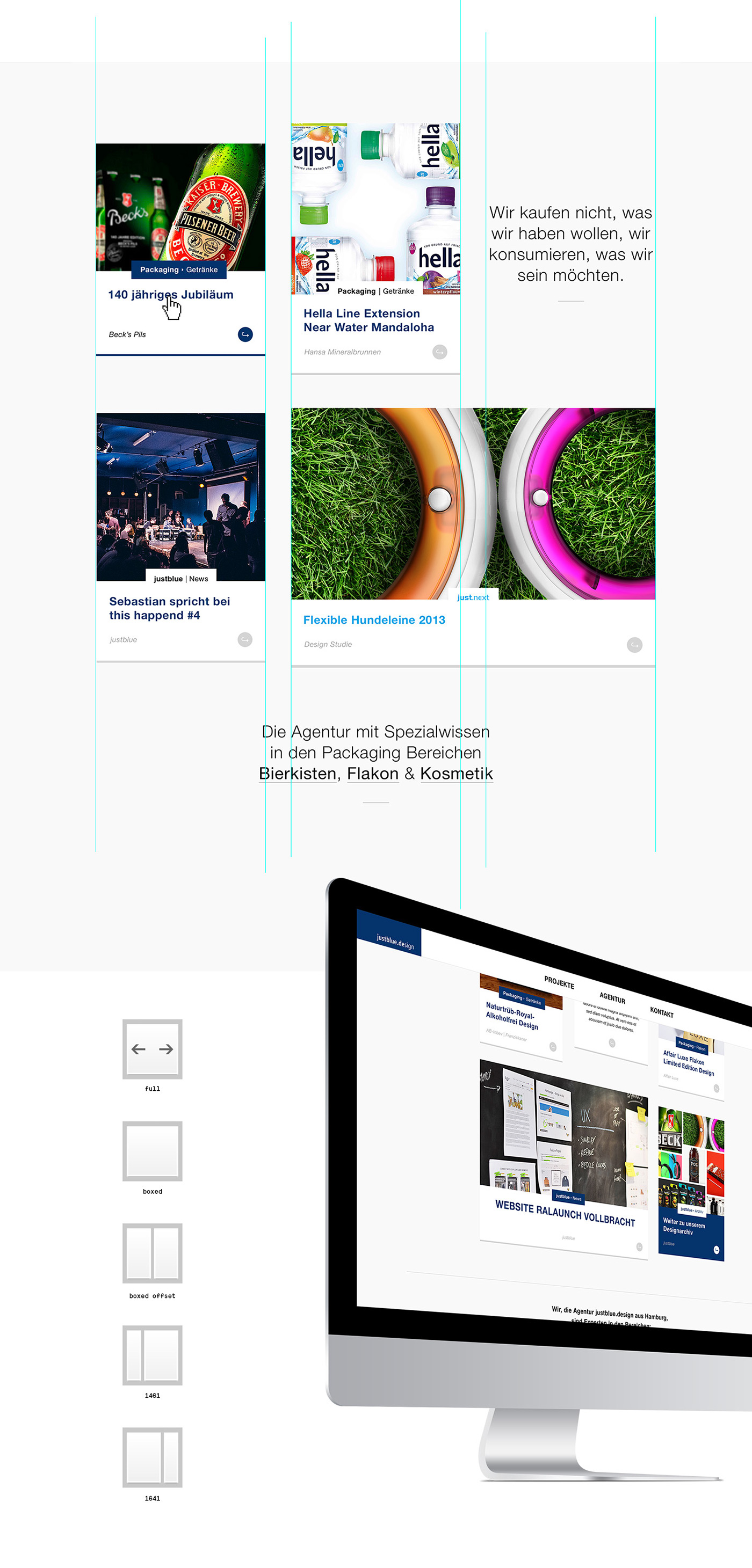 Website blue grid tiles stream modular Responsive ux UI mobile