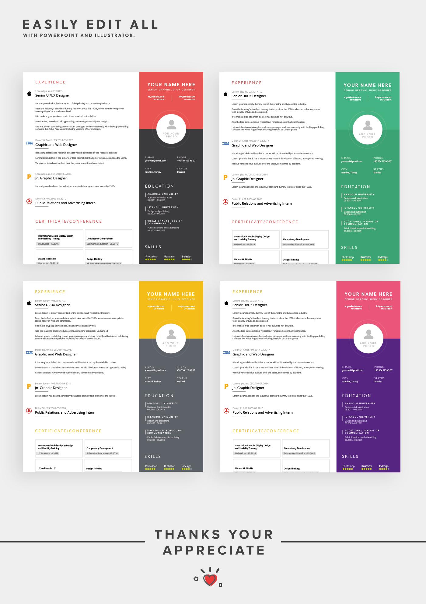 fully editable creative resume template
