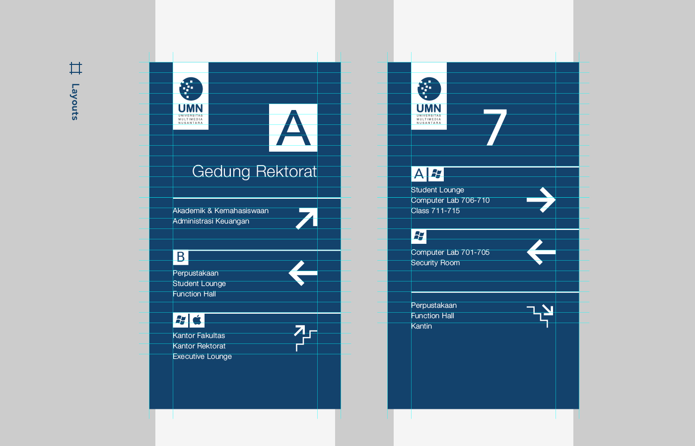 universitas multimedia nusantara UMN wayfinding Way Finding Signage sign system University minimalist Wall Mounted avenir