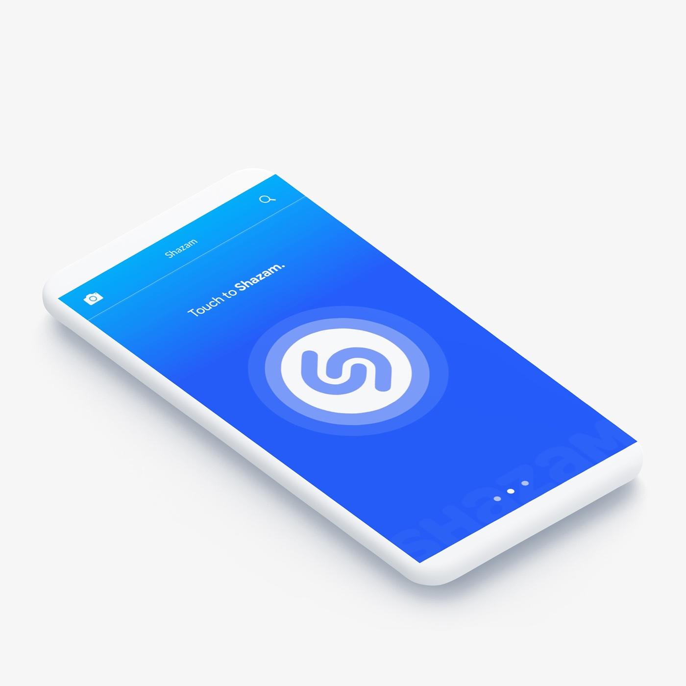 redesign concept app design Shazam app UI ux material android application