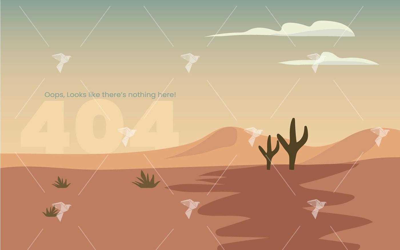 cactus desert ILLUSTRATION  Illustrator page not found sand scene ui design Website