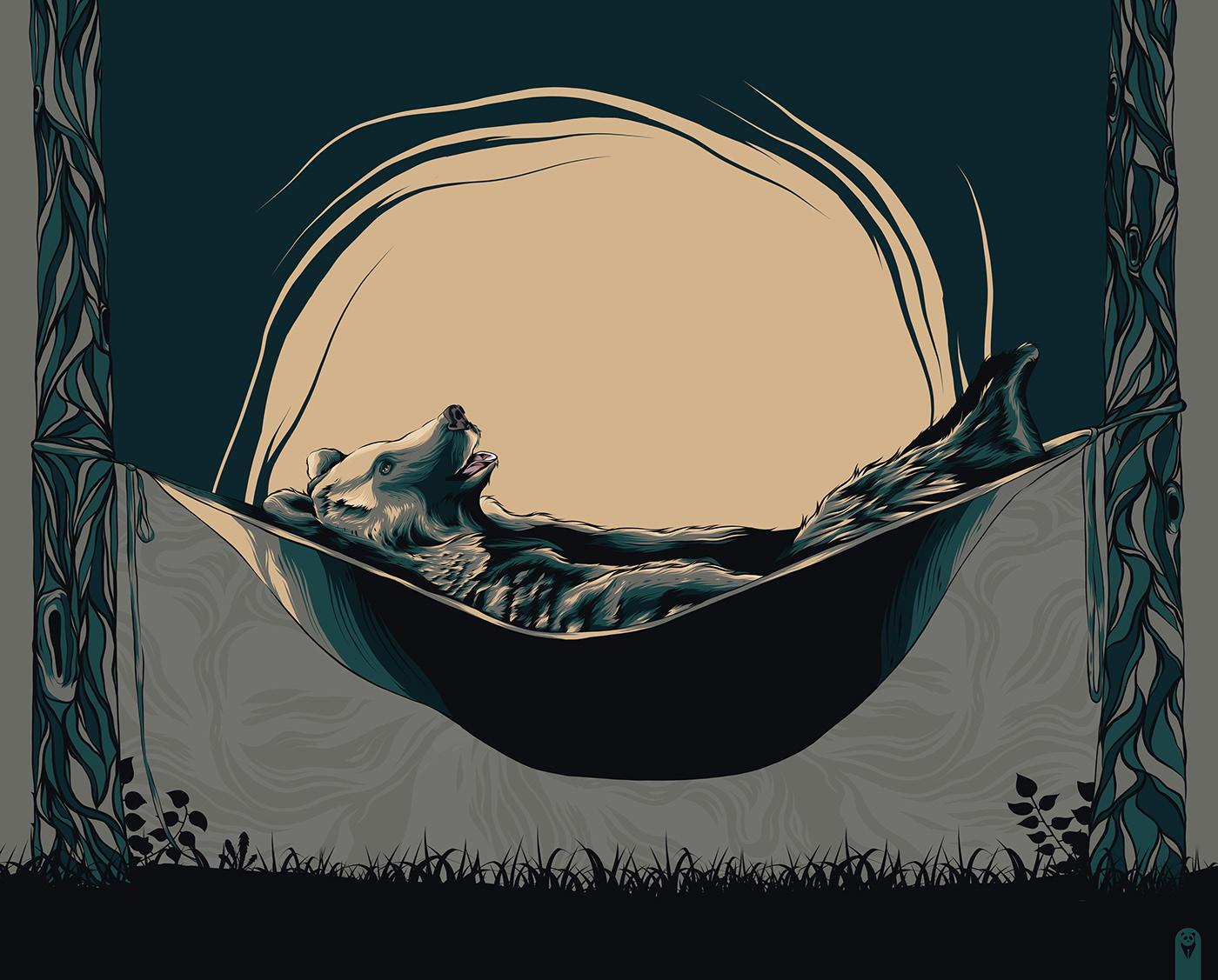 Grizzly Bear Sleeping in a Hammock