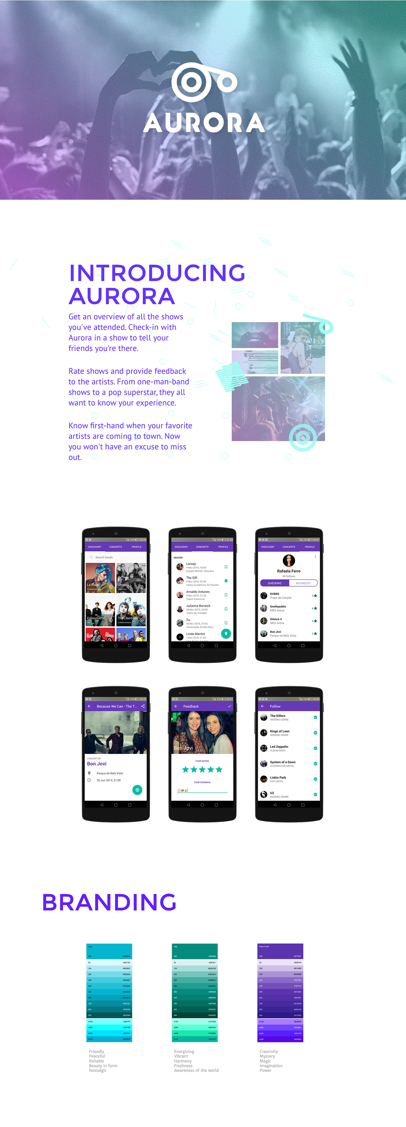 android concerts music Web mobile bands check-in collect branding  typography
