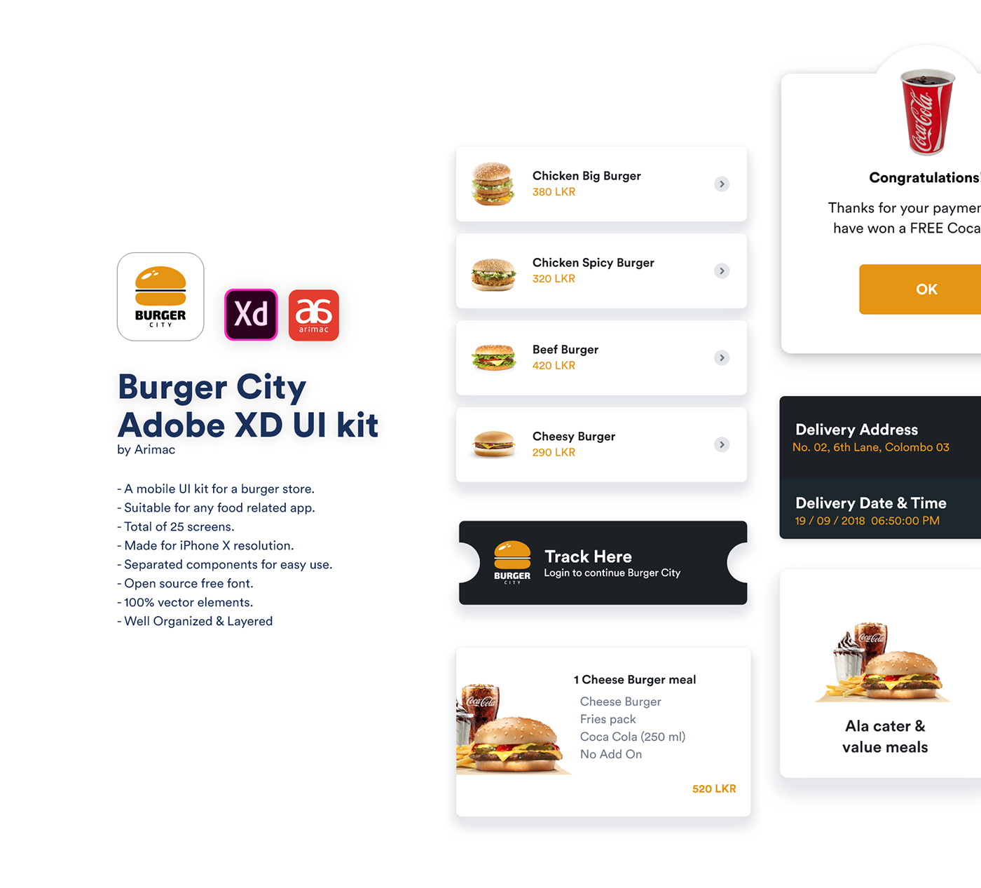 Burger City - Free Adobe XD UI kit on Behance