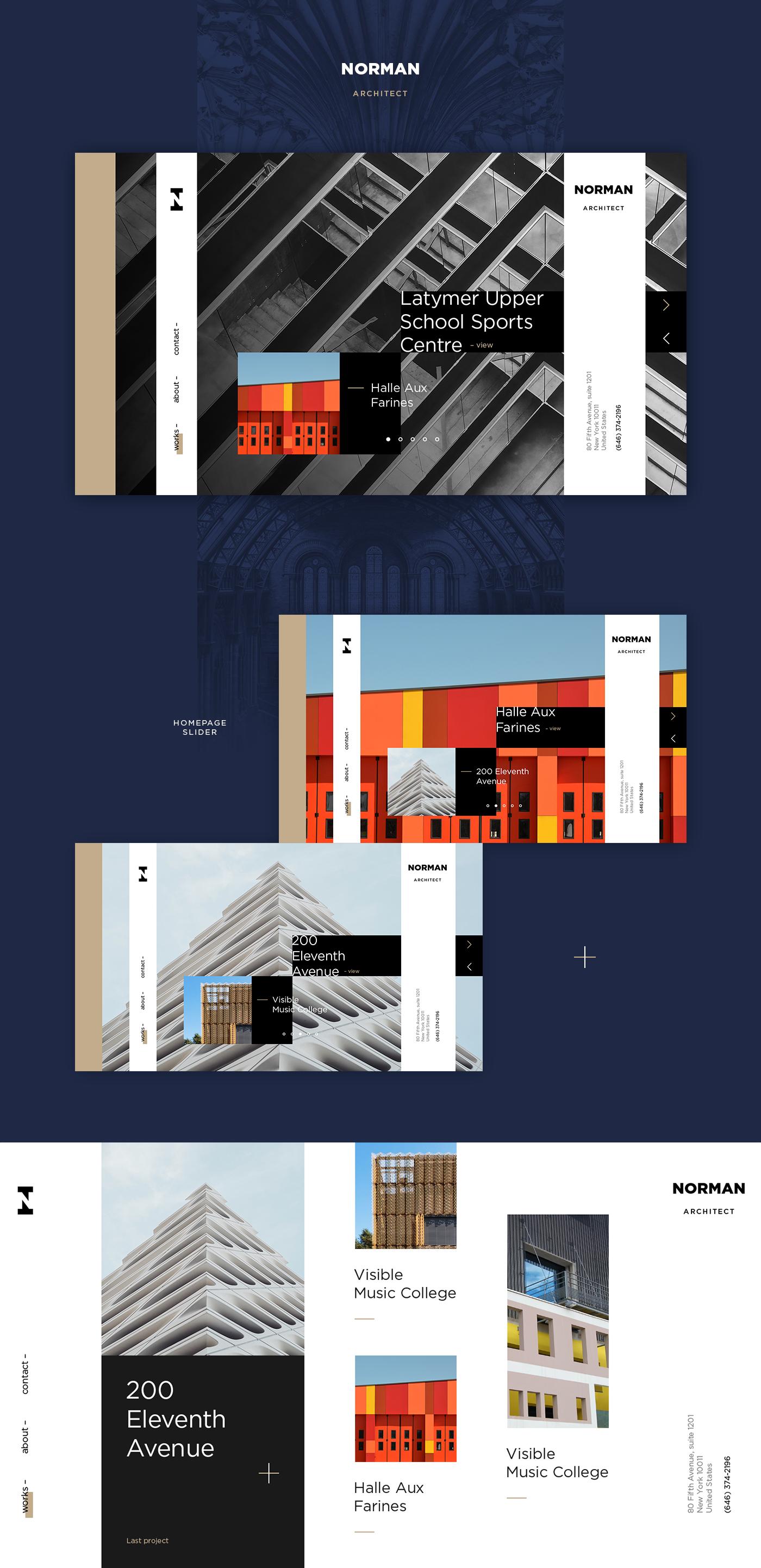 Webdesign minimal modern clean dark ux UI architect architecture typography