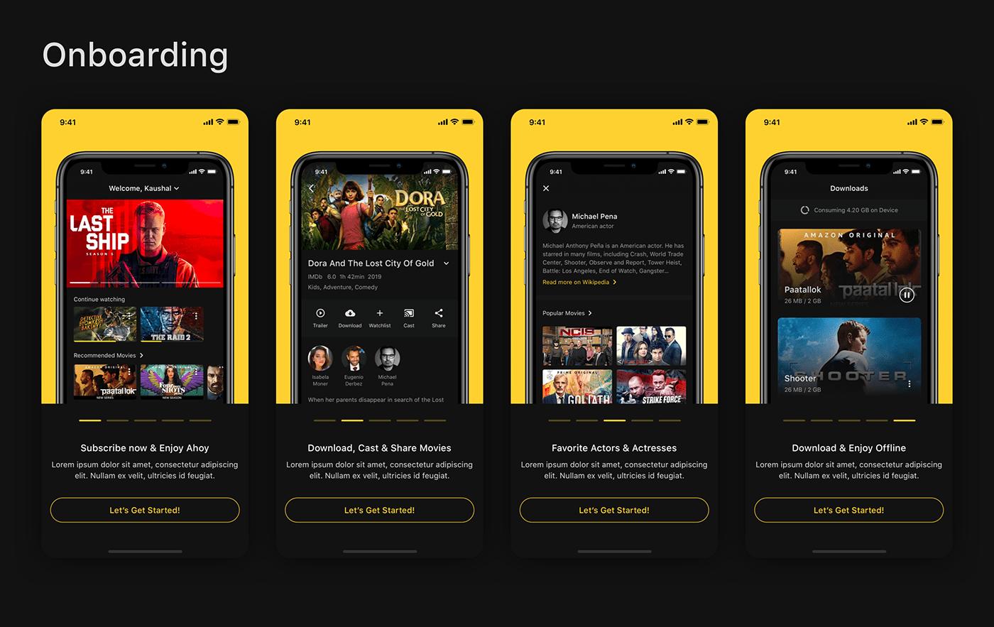ahoy dark mode iOS App iOS UI material ui mobile app design Mobile APP UI movie app Movie Streaming App UI/UX