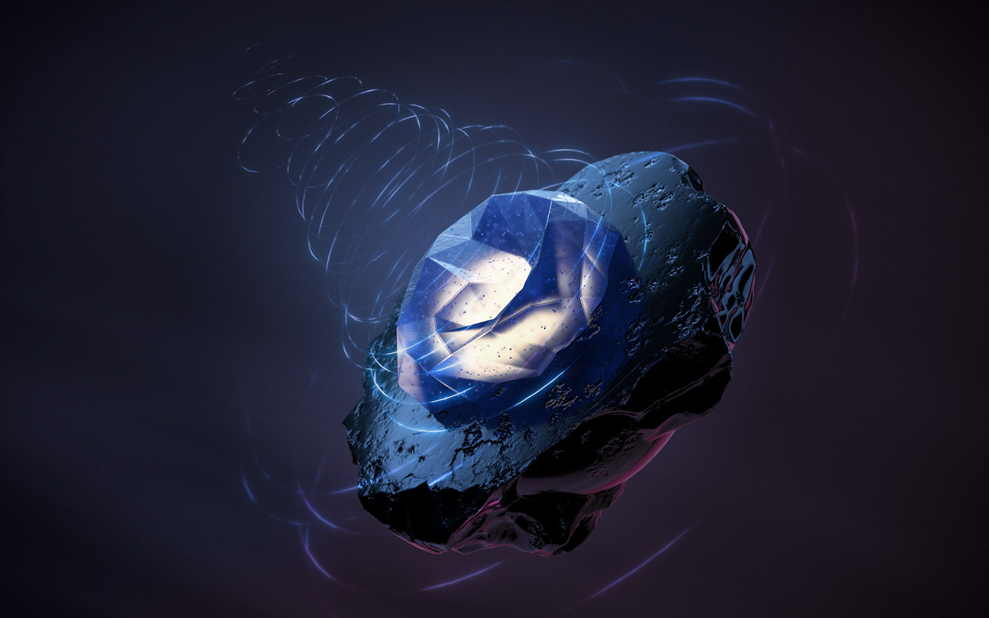 crystal transparent volcanic stone energy concept float Render 3D