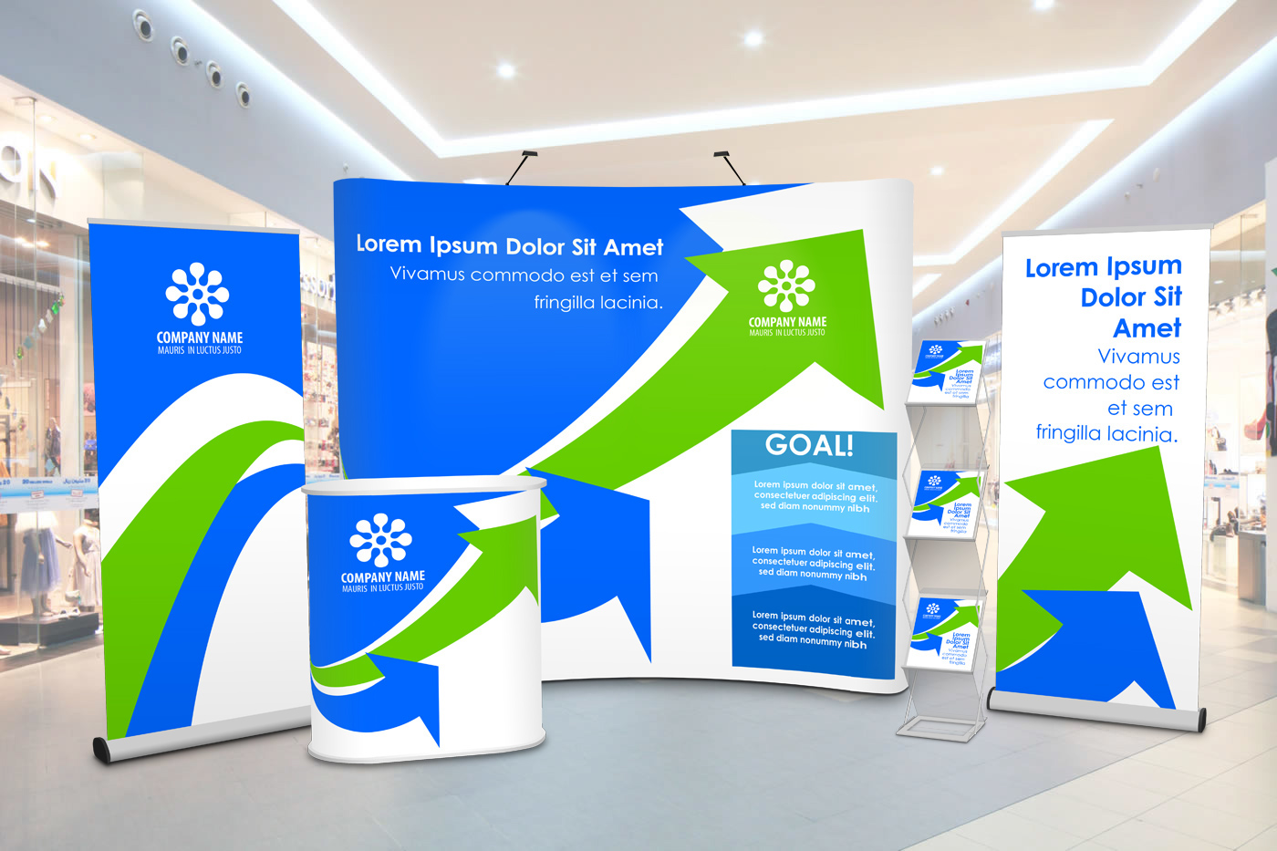 trade show booth exhibition display Event Booth Mockup pop up exhibition roll up banner