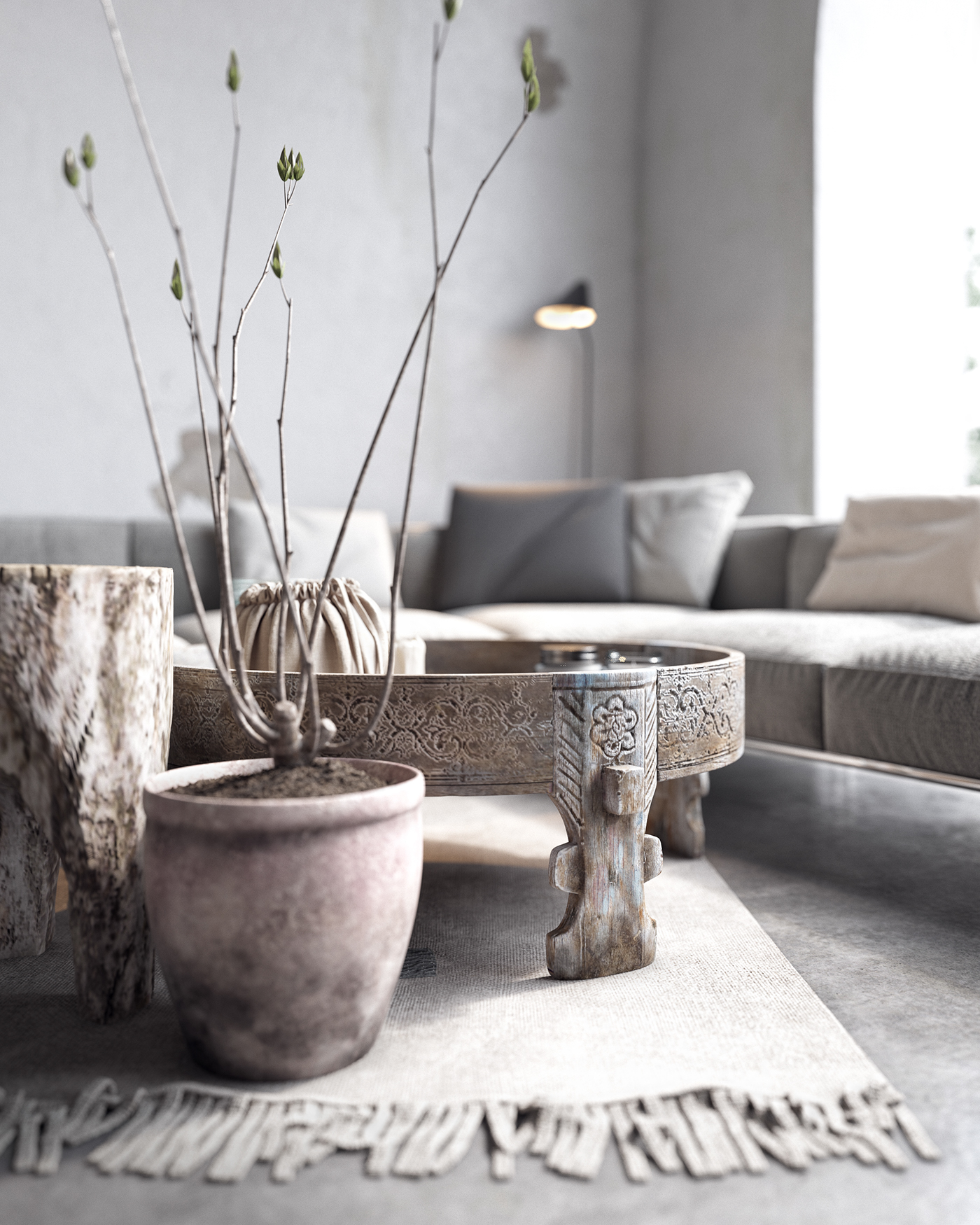Pot en terre et table en bois de style ethnique
