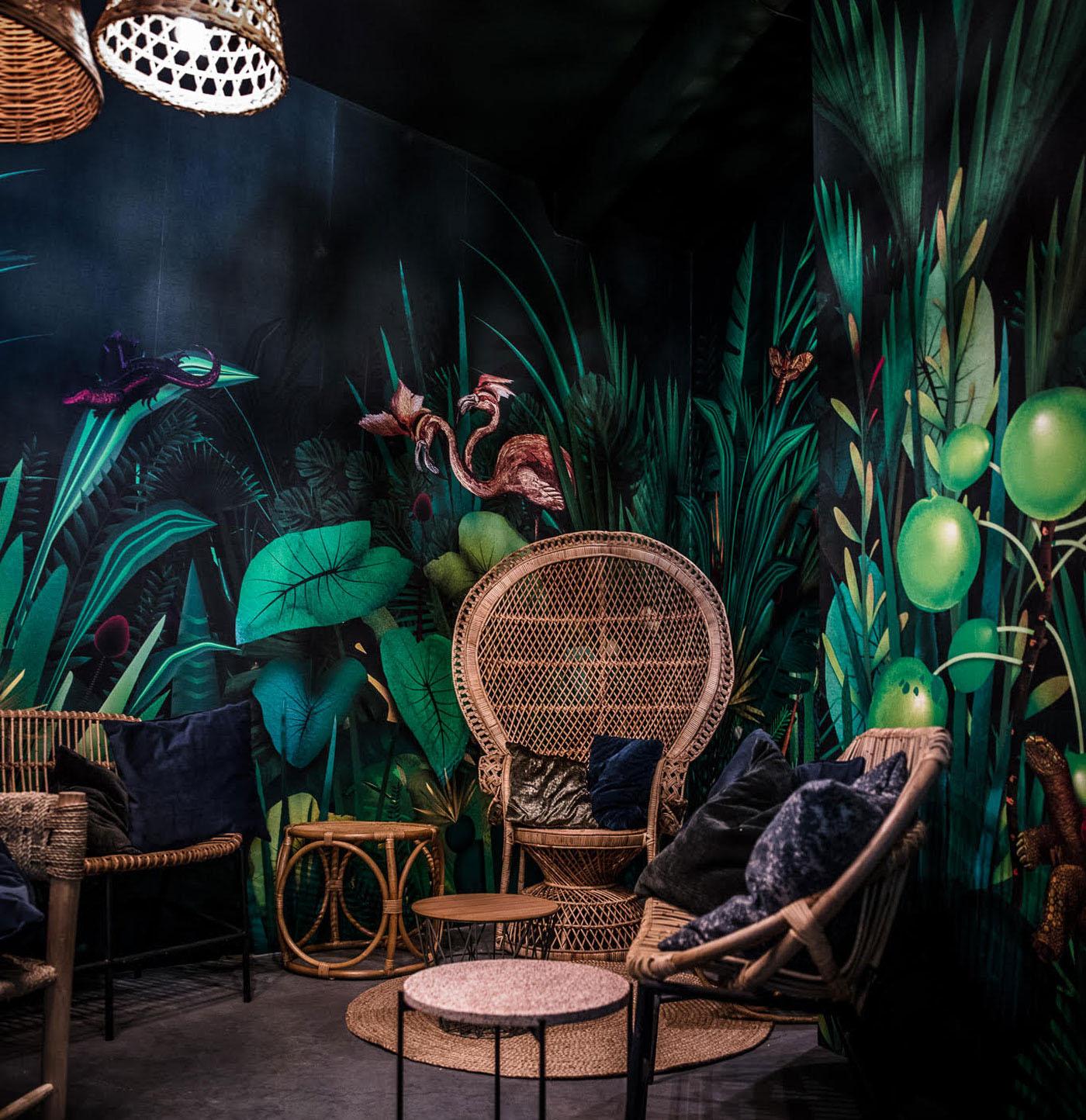 jungle bar plants flamingo lounge wallpaper Flowers animals Mural Interior