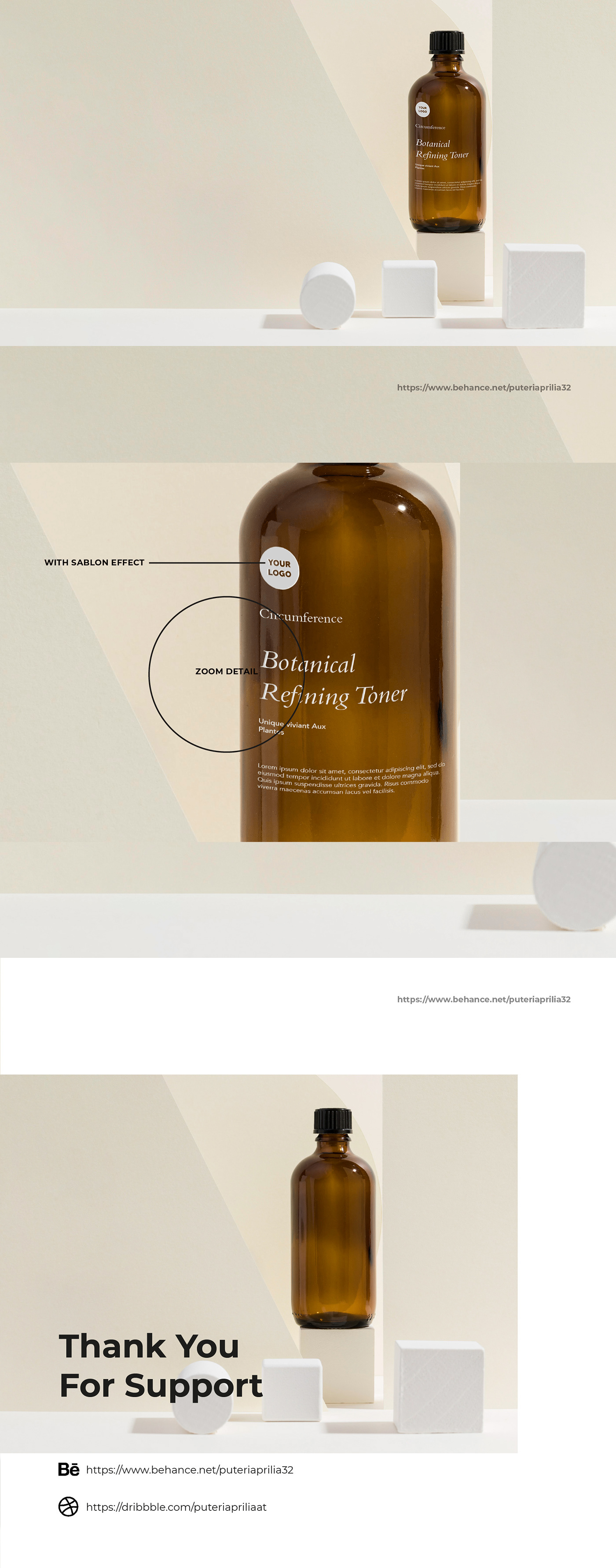 It is an elegant and unique cosmetic bottles mockup will attract consumers for nails, skin and more.