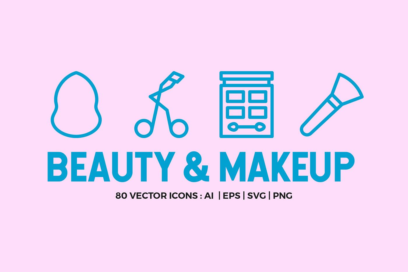 Beauty & Makeup Line Icons