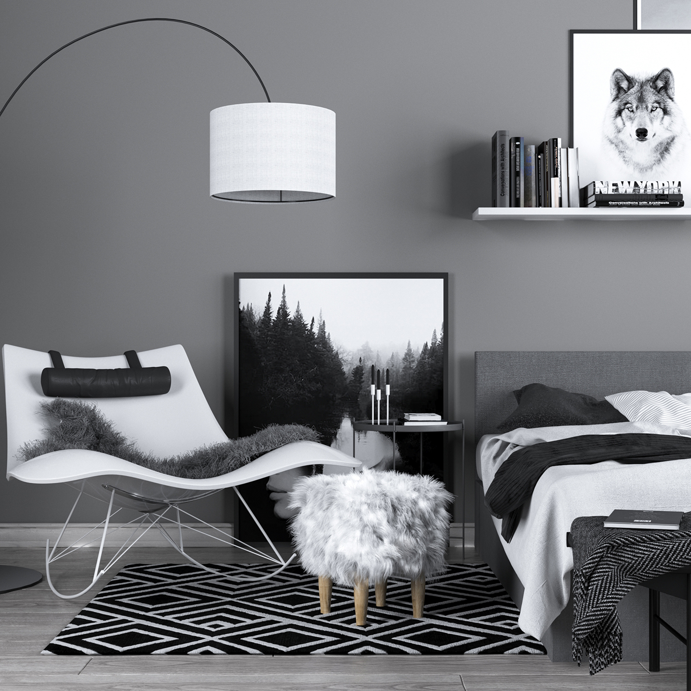 Monochrome scandinavian interior on Behance