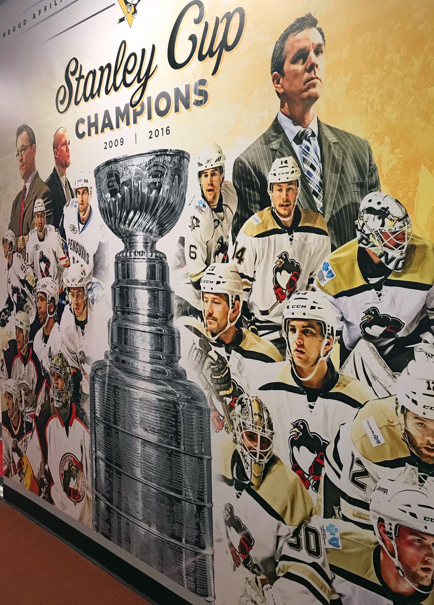 hockey wbs penguins stanley cup Mural Pittsburgh Penguins penguins NHL Stanley Cup Champions fleury AHL