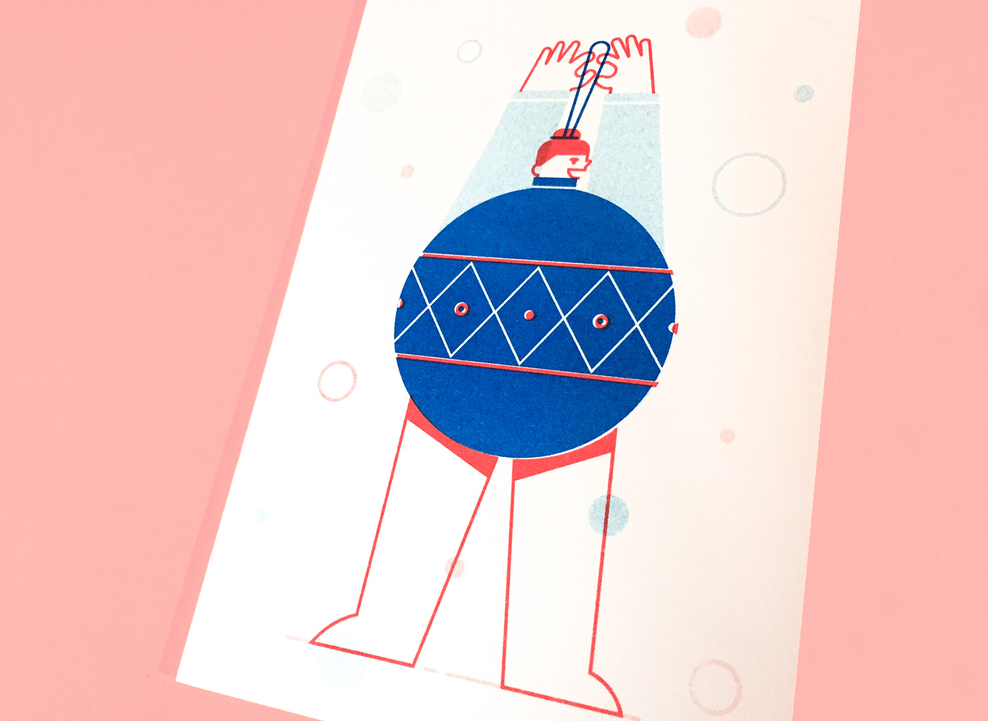 risograph postcards holidays Christmas festive card gift Tree  friends sweater
