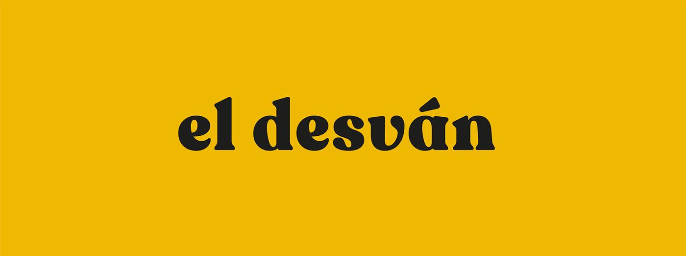 marca del estudio el desván, branding creado a partir de recoleta font,en bold Estilo retro amarillo