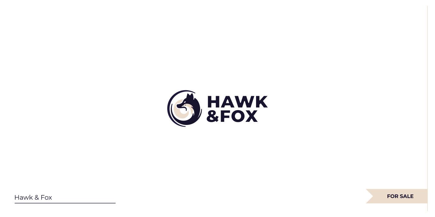 Nwgative space Hawk + Fox logo.