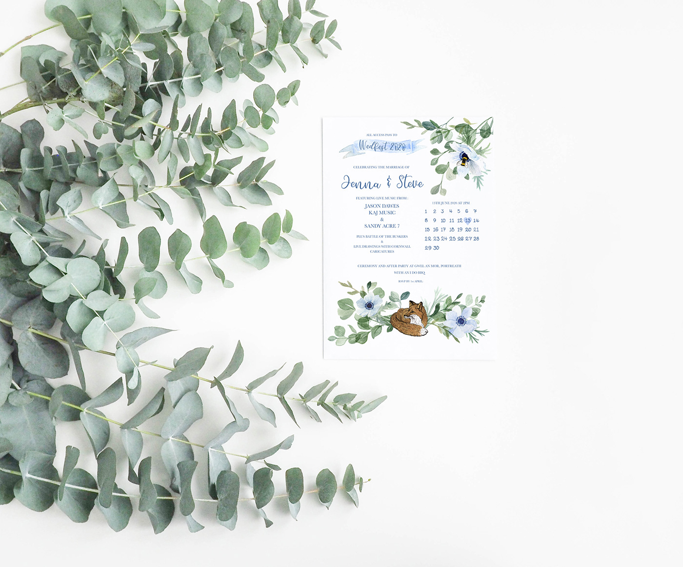 botanical Cornish Wedding country wedding design floral HAND LETTERING invitations rustic wedding Stationery wedding