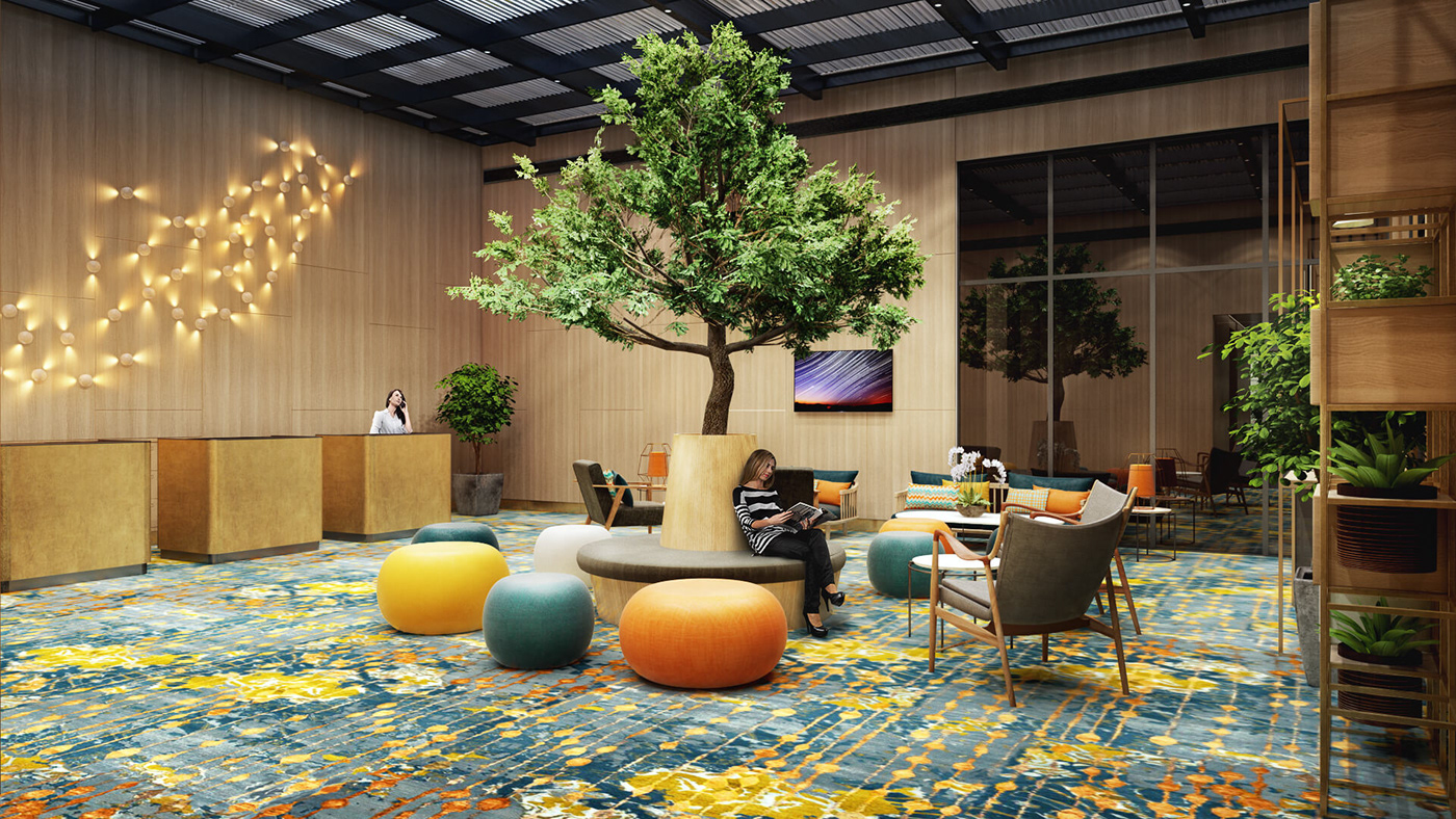 The Hotel Lobby Looks Vibrant Thanks To Emerald Elements Of Eco Design And Bright  Accents Of Orange And Green Original Furniture.