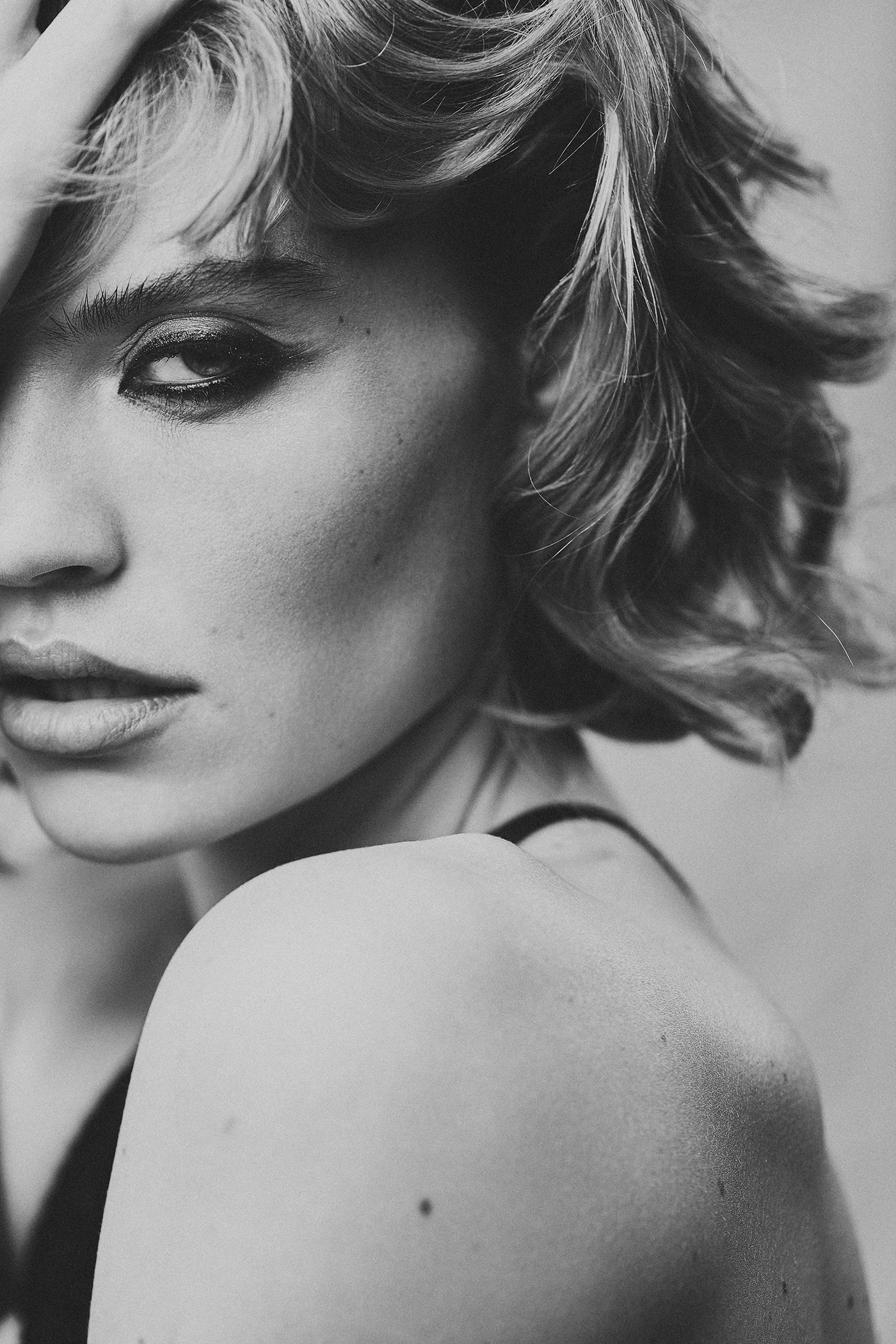 black and white blur editorial fashion portrait motion motion blur