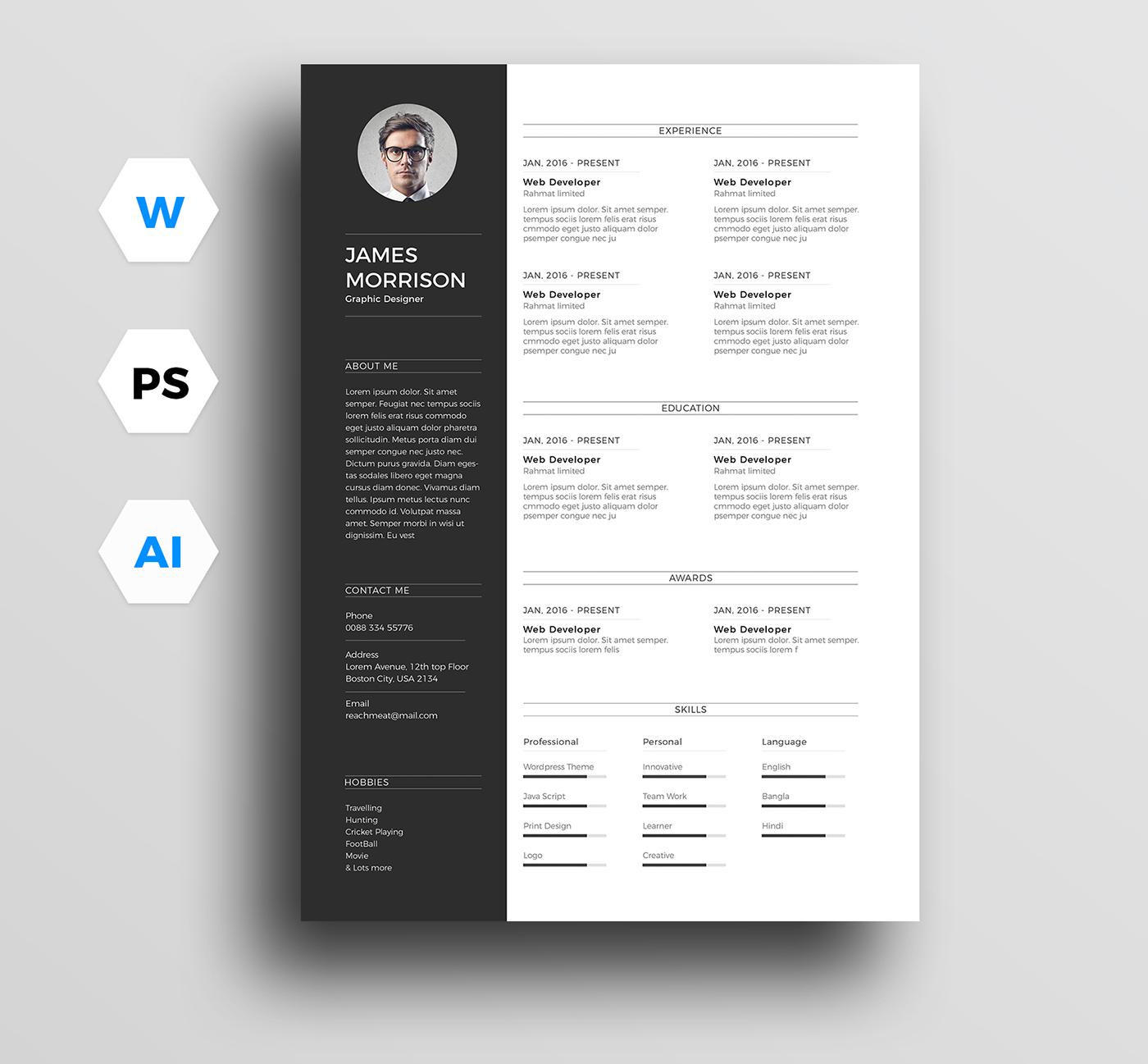 a4 resume template clean resume creative resume template CV template cv word elegant resume Resume resume creative