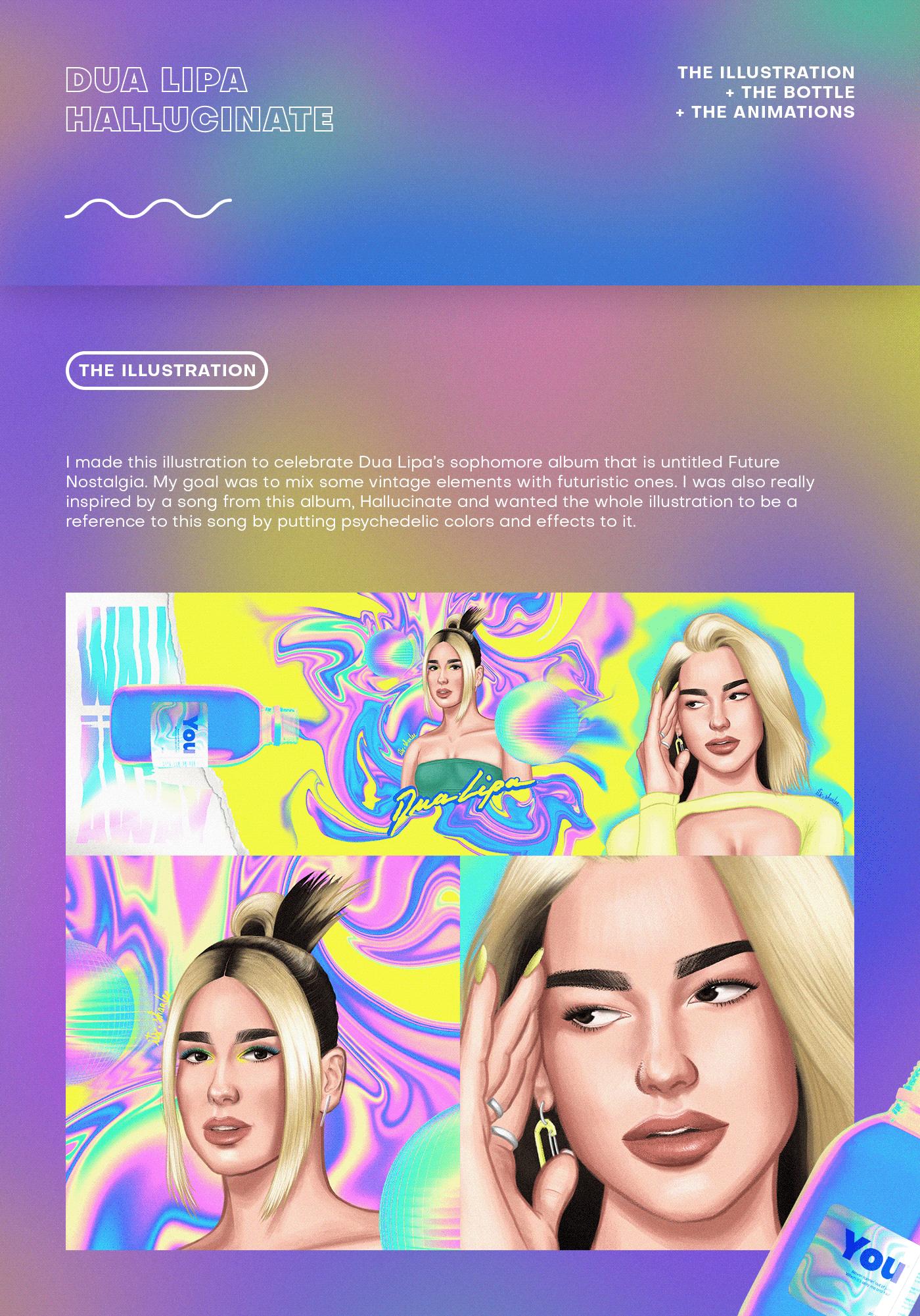 colorful colors Drawing  dua Dua Lipa hallucinate music pop pride psychedelic