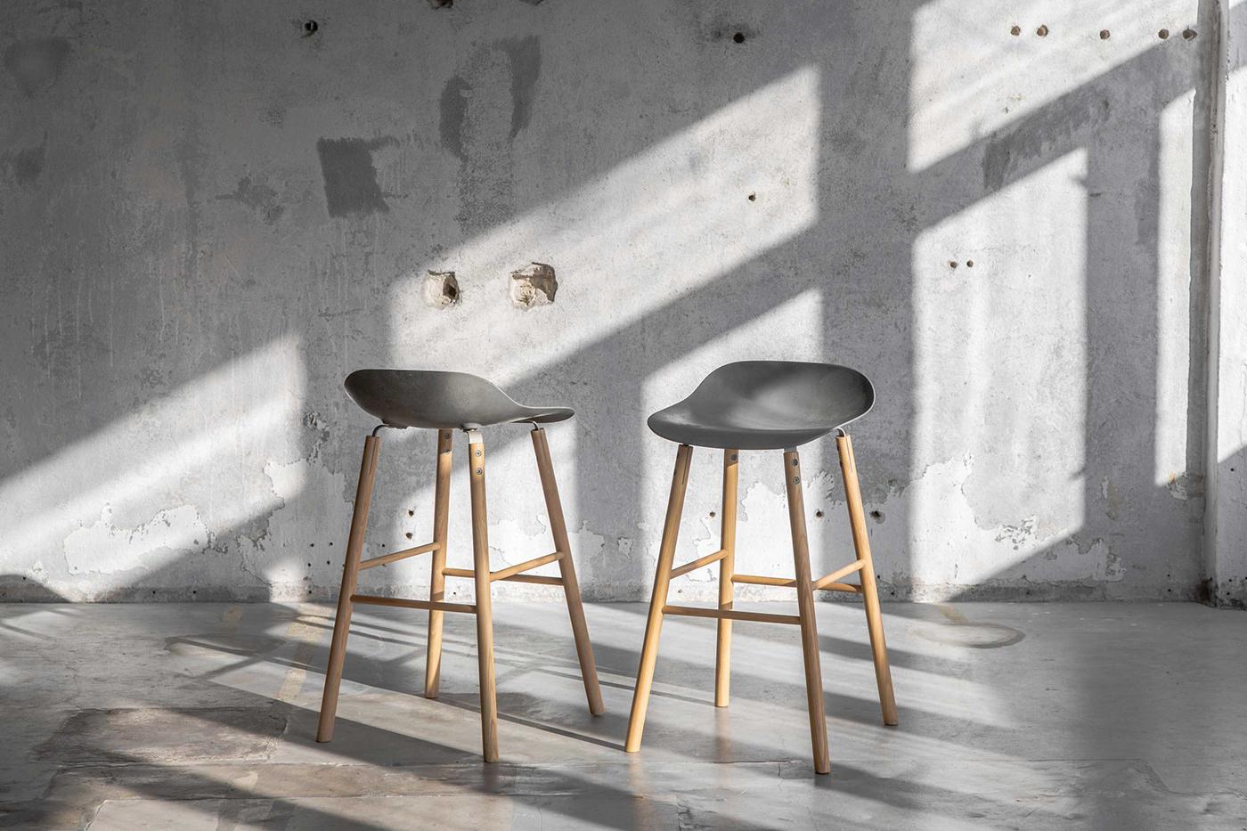 2sympleks bar chair concrete design hoker pub restaurant stool