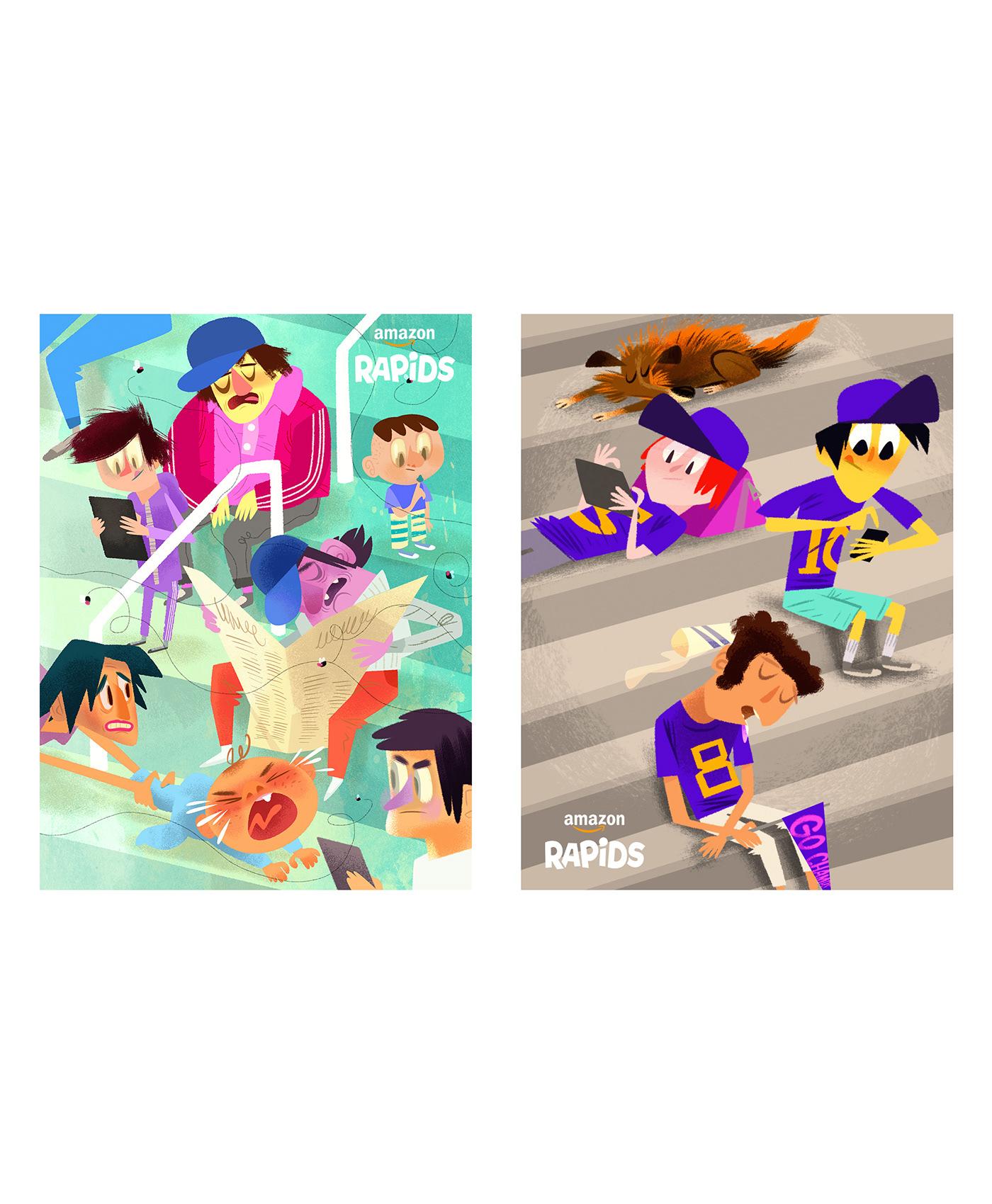 Amazon animationcharacters CharactersDesign DigitalIllustration e-book e-reader Fun shortstories sports Sportsillustration