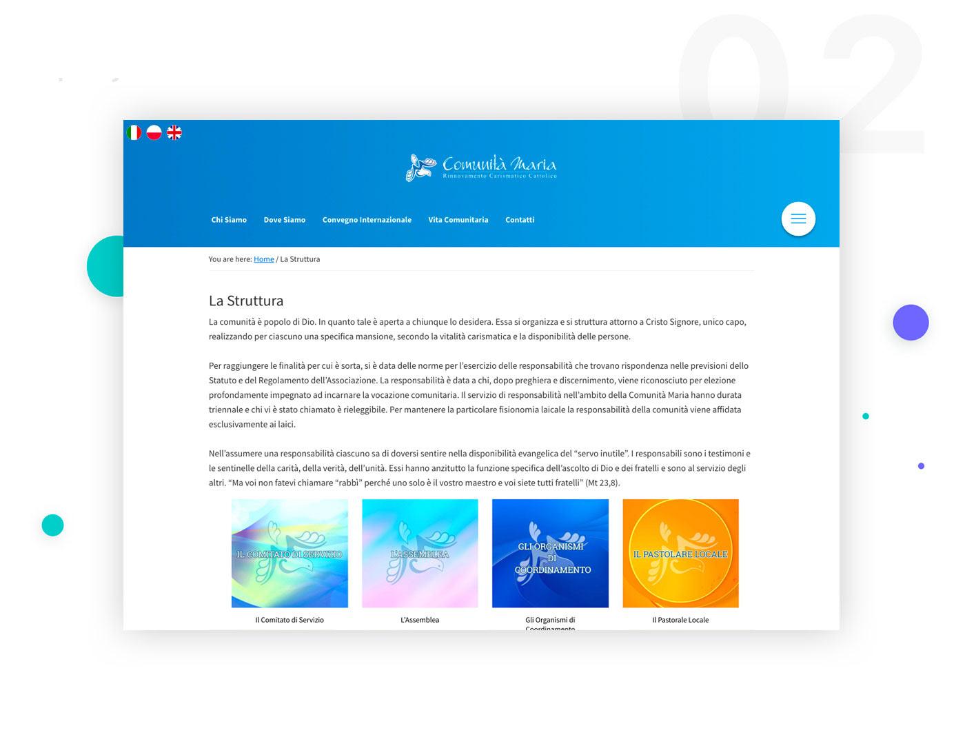 COMUNITà MARIA Web Design  web development  Rinnovamento Carismatico Cattolico UIX wordpress Woocommerce payments booking online https