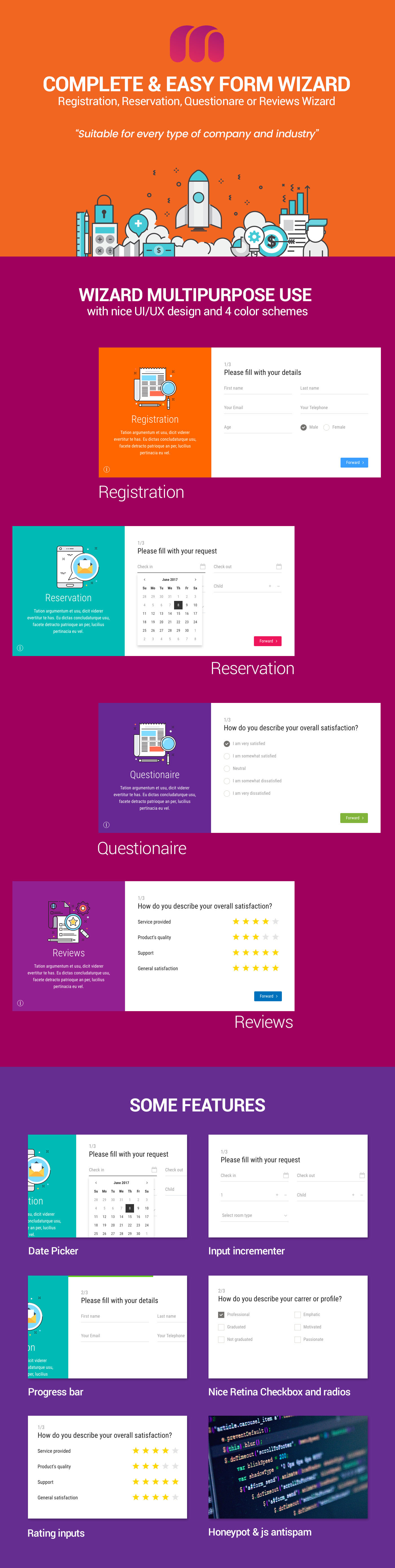 form email wizard questionare register registration reservation reviews signup survey Web