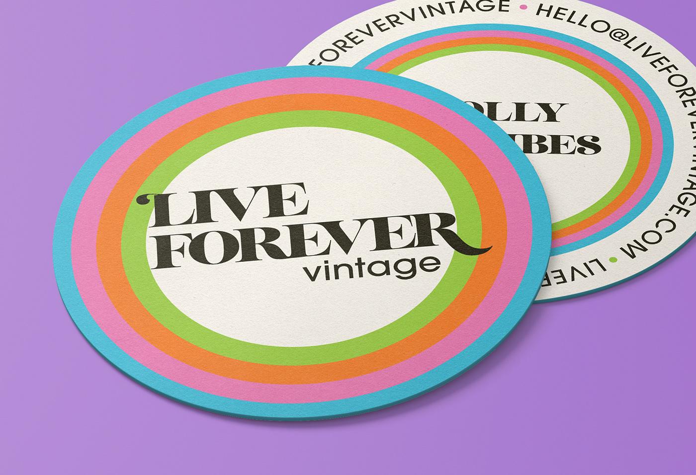 Round Live Forever Vintage business cards