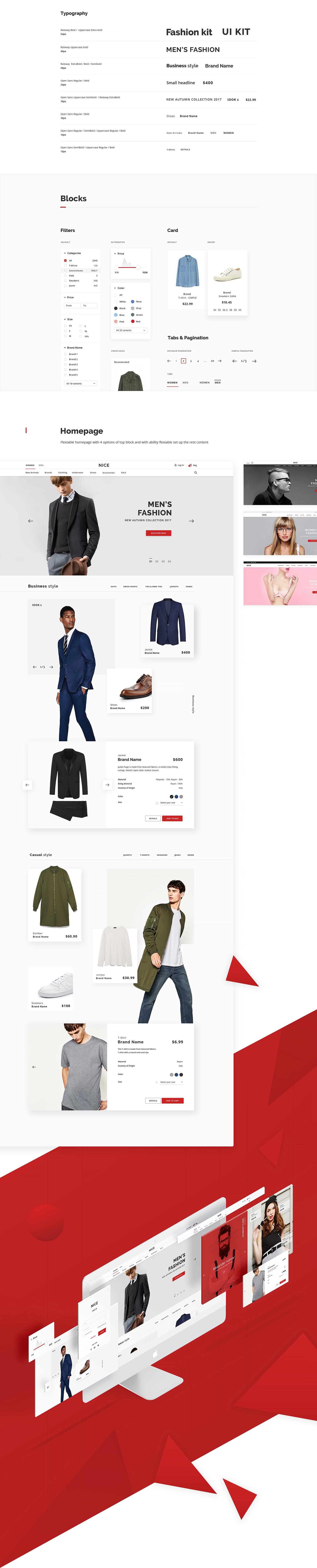 uikit UI kit Fashion  stylish modern red Web webkit