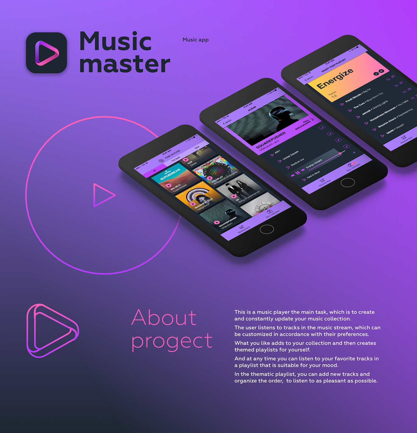 app music music app Music Player music master Prototyping mobile app concept Music player concept ux/ui concept