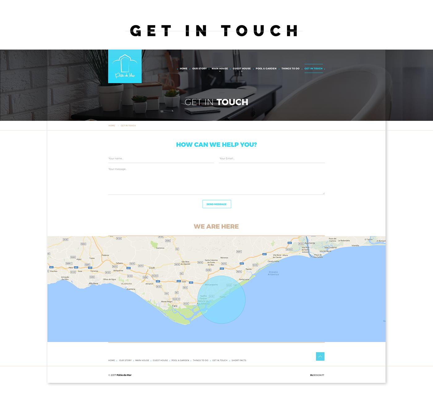 Portugal Algarve blue hotel landing page UI ux