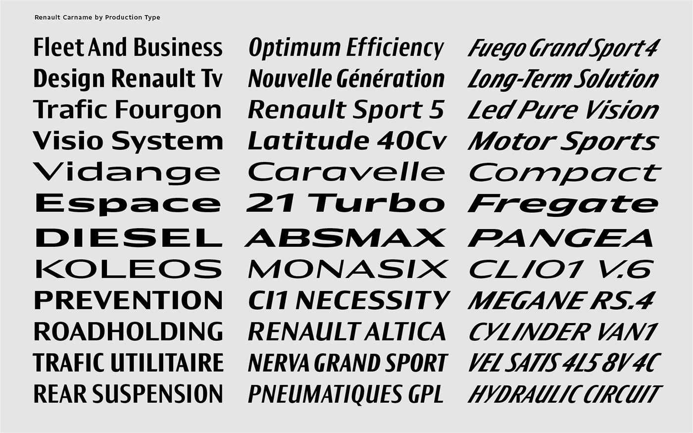Renault vehicles   Custom Typefaces on Behance
