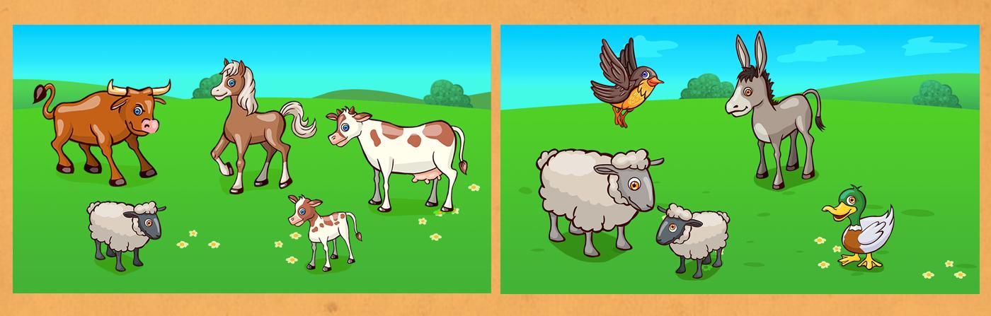 Game Art app design illustration games App for kids games for kids educational games icon design  puzzle animals farm