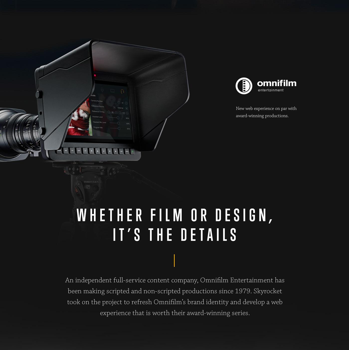 Omnifilm ux UI Web Design  Film   Website dark ui film website